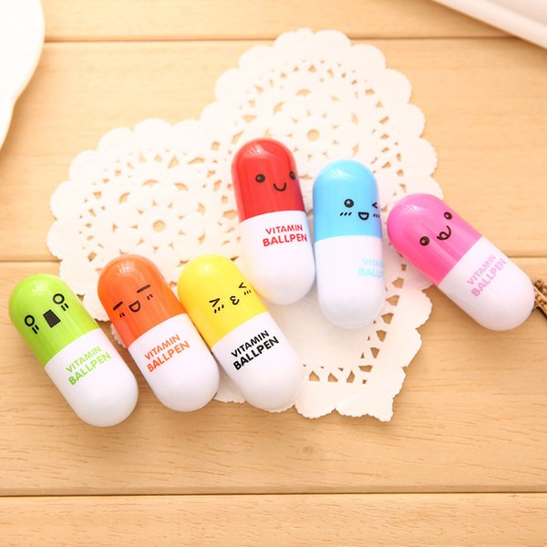 Lovely Interesting Colorful Kid Toys Smiling Face Pill Ball Pencils Telescopic Ballpen Marker Learning Stationery Point Pen