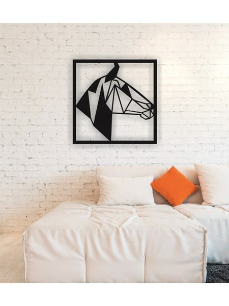 Linewallart Animal metallo figura della testa di cavallo Wall Art Decor ritratto