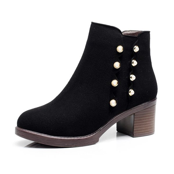 Winter's new English style frosted Pearl side zipper with velvet warm Martin boots