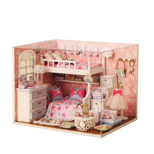 Children Diy 3D Wooden Doll Houses Toy Handmade Furniture Miniatura Miniature Doll House With Led Light Assemble Kits Toys Gift