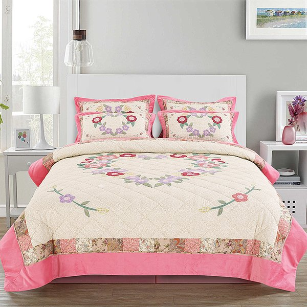 Qualität Applique Baumwolle Tagesdecke Quilt Set 3pcs / 2pcs gestickte Quilts gesteppte Bettdecken Queen Twin Size Bettdecke