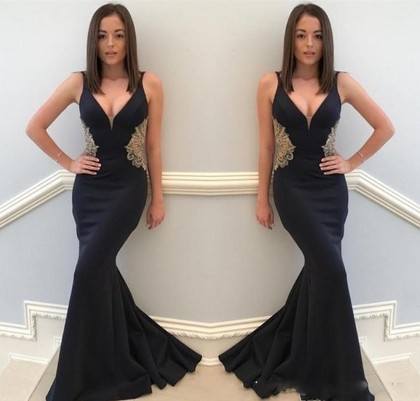 V Neck Gold Appliqued Prom Dresses Mermaid Floor Length Red Carpet Holidays Graduation Wear Evening Party Gowns Custom Made Plus Size