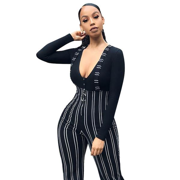 JAYCOSIN strappy bodysuit Women High Waist Harem Pants Women Bowtie Elastic Waist Stripe Casual Jumpsuit pants with straps z0110