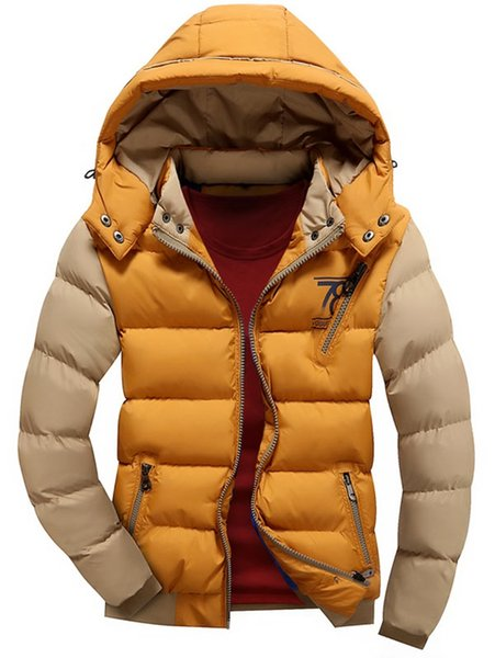 Men Winter Down Jacket Color Block Puffer Jacket Male Hooded Coats Casual Outwear with Detachable Hood Black White Yellow Red