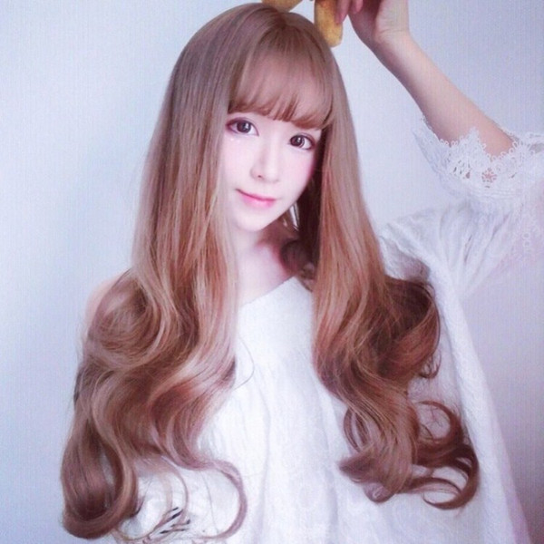 Japan and South Korea fluffy anime wig girl air Liu Hai pear flower sweet long curly hair big wave straight hair wig
