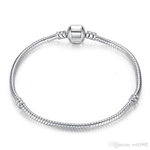top popular 1pcs Drop Shipping Silver Plated Bracelets Women Snake Chain Charm Beads for pandora Beads Bangle Bracelet Children Gift B001 2021