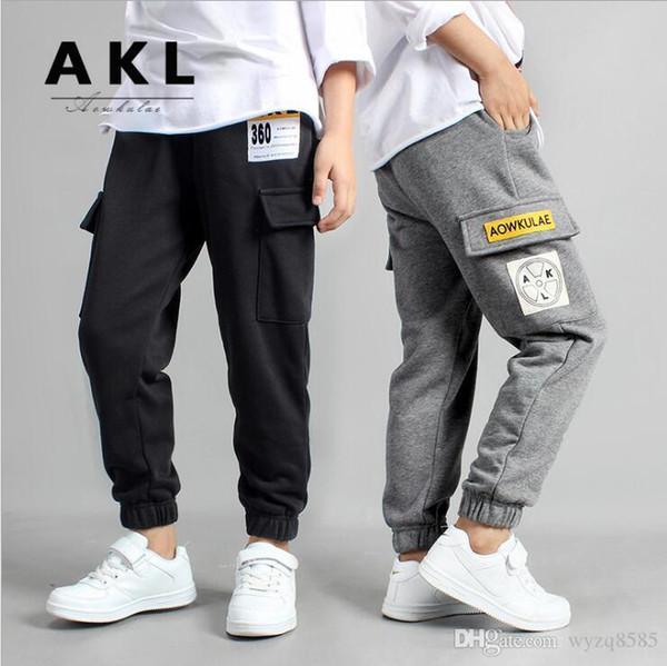 Calças para crianças Queda 2019 versão coreana de calças desportivas as novas crianças 2,020 médio e idade das crianças tricô ov