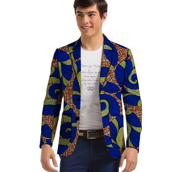 African clothes men's blazers Ankara pattern print slim fit jacket Dashiki Men Suit/Blazer smart casual men coat wedding wear