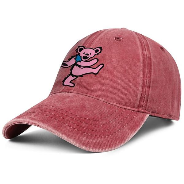 Womens Mens Washed Cap Hut flach-entlang einstellbar dankbar tot Bär Pink Hip-Hop Baumwolle Tennis Cap Sommer Reisen Hüte Cadet Army Caps Eimer