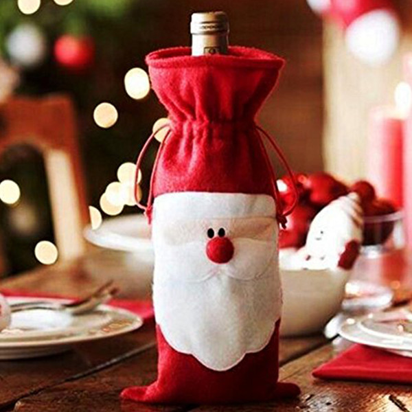 1 Piece Xmas Wine Bottle Cover Santa Claus Red Wine Bottle Cover Bags Christmas Table Dinner Decoration Home Party Decors