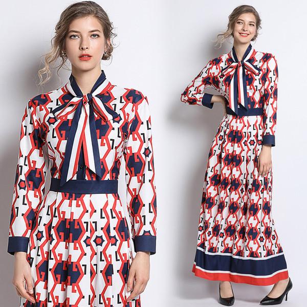 Nouveau 2019 Printemps Été Automne Piste Vintage Imprimé Floral Tie Neck À Manches Longues Taille Empire Femmes Dames Casual Parti Une Ligne Maxi Dress