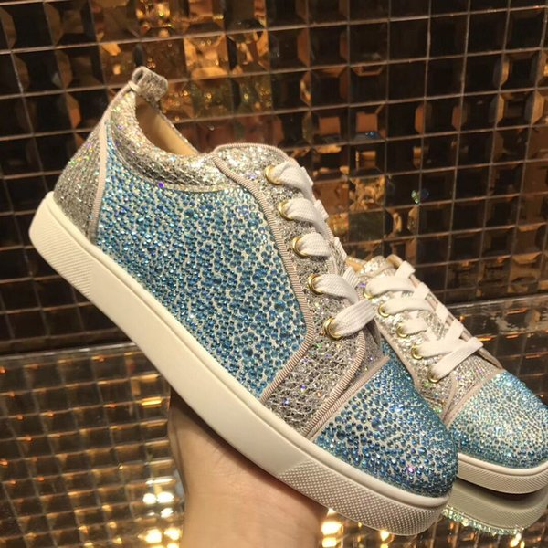 Elegant Blue Rhinestone Women,Men Low Top Junior Red Bottom Sneakers Luxury Designer Twinkling Crystals Casual Love Party Shoes Free Shippin