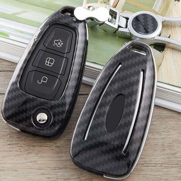 Autoschlüssel Hülle Shell Protector für Ford Focus 3 3 4 Fokus MK2 MK3 Mondeo MK3 Mondeo MK4 Mustang Remote 3 Butt Kohlefaser