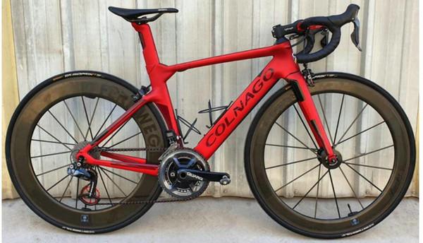 2019 colnago carbonio Completa bici da bicicletta rosso scuro con Ultegra R8010 Groupset In vendita 50mm ruote da strada in carbonio opaco