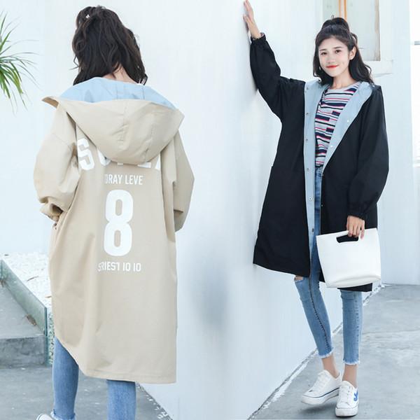 Plus La Taille Femmes Trench-Coat De Mode 2018 Printemps Automne À Capuche Harajuku Causual Filles Cardigan Coupe-Vent Femme Vêtements de Dessus