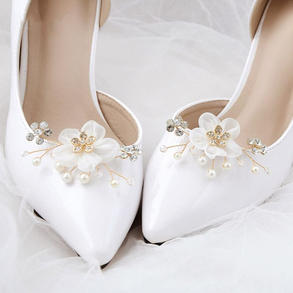 ef381a5291 Shoe Clip Floral Simulated Pearl Mini Decoration DIY Women Sandals Charms  Flower Clips Shoes Buckle Fashion
