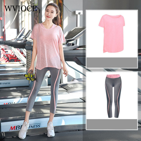 Frauen Yoga Set Gym Fitness Kleidung Shirt + Hose Laufen Enge Jogging Workout Yoga Leggings Sport Anzüge Plus Größe L-xxxxl