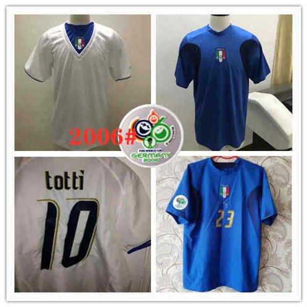 2006 Italy Gattuso Retro Soccer Jersey Cannavaro Francesco Totti Del Piero Nesta Inzaghi Pirlo Materazzi Toni 06 Italia Camisetas Vintage