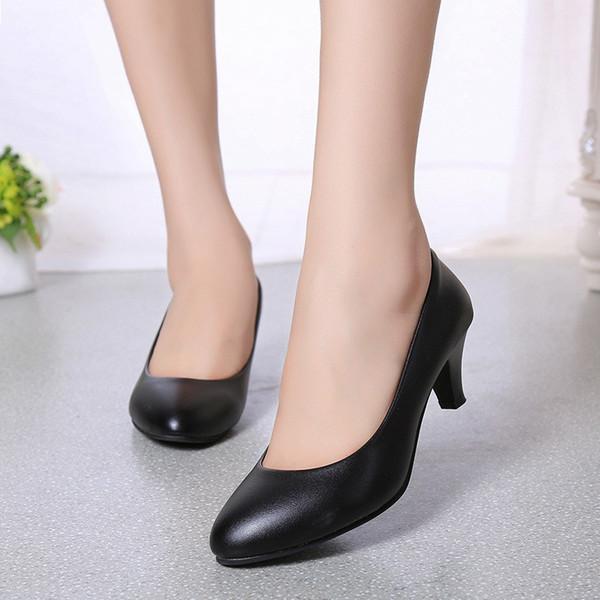 Dropshiping Lackleder Niedrige Absätze Schuhe Frauen Berufsschuhe Damen Flacher Mund Arbeit Damen Elegantes Büro