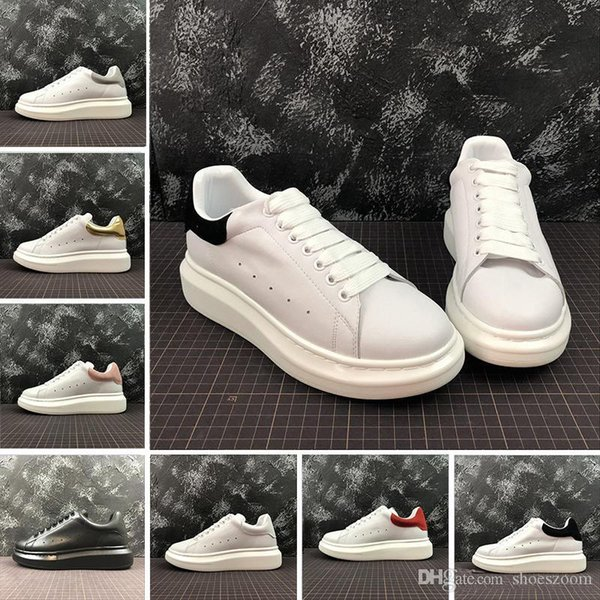 2019 Designer De Luxo Vermelho Preto Branco Plataforma Clássico Sapatos Casuais Sapatos de Couro Ocasional Vestido de Lona Mens Das Mulheres Tênis Esportivos 36-44