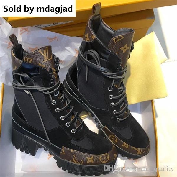Laureate Botas de Deserto Das Mulheres de Couro Casuais Impresso Sapatos de Grife Plataformas Plataformas de Salto Alto Tornozelo Martin Botas Com Caixa