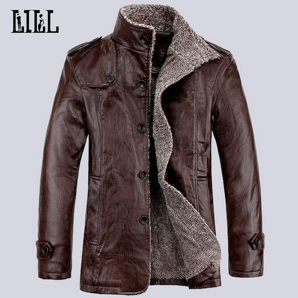 Hi-Q 2017 Spring Fashion Men's Motorcycle Leather Jackets Men Winter Casual Warm Coats Thick Wool Male Bomber Jacket 4XL,UMA335