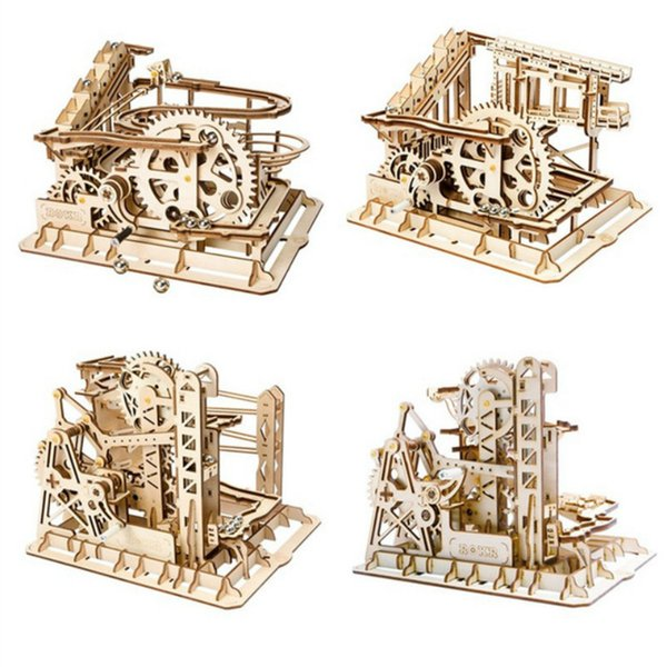 Robotime 4 Kinds Marble Run Game DIY Waterwheel Coaster Wooden Model Building Kits Assembly Toy Gift for Children Adult AIJILE
