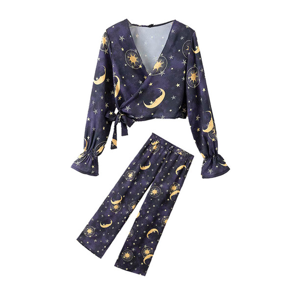770f57fca7761 Female set pants set starry moon knotted lace-up tops high waist loose  casual trousers two-piece 2019 new products