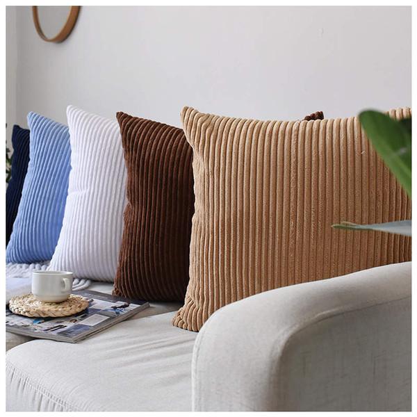 45*45cm Nordic Pure Sofa Pillow Cushion Cover Fashion Corduroy Stripes Office Waist Pillowcase