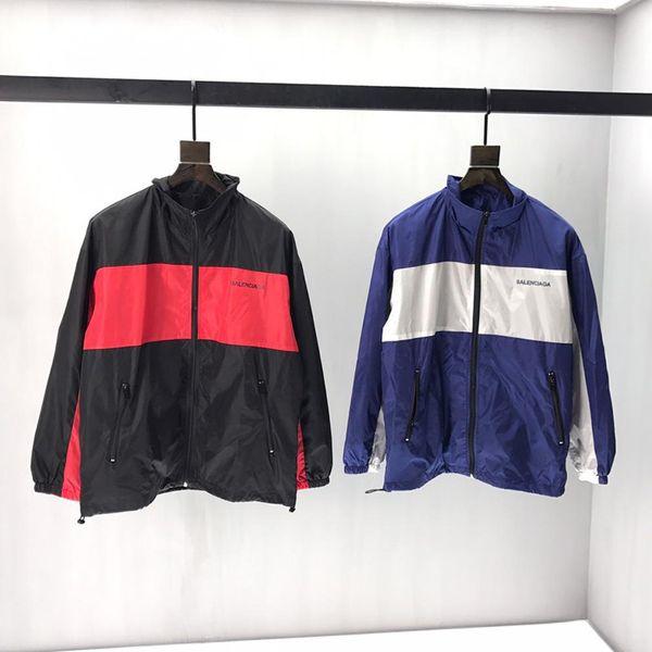 2019 mens designer jacket luxury Paris Letter Color match print Metal zipper clothes Stand Collar long sleeve Men Women real label tag New