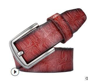 Manufacturers direct hot style leather buckle belt men belt smooth buckle lychee grain with double - sided head layer cowhide01