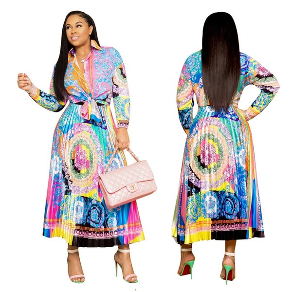 top popular Women Two Pieces Dresses Suits Colorful Autumn Floral Printing Long Sleeves Blouse skirt set Turn Down Neck Shirt Pleats Skirt Sets LJJA3119 2019