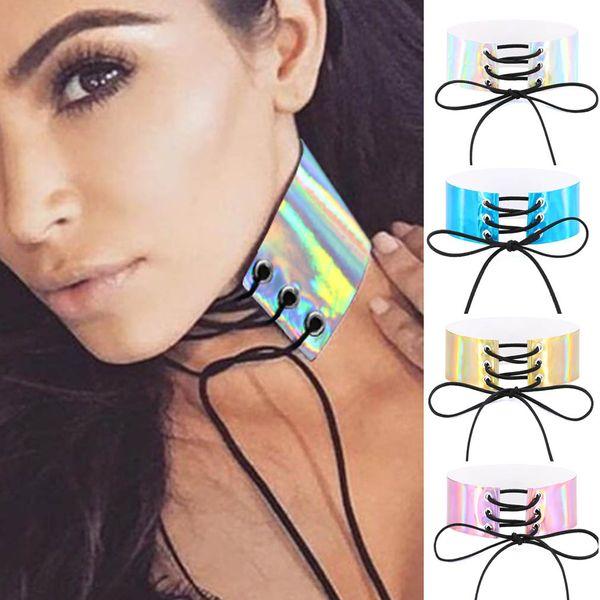 Reflexiones de múltiples capas Laser Rainbow Lace Bundle PU Gargantilla Collar Collares Torques para Mujeres Moda Esclavo Regalo de joyería DROP SHIP