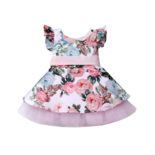 Kids Dresses For Girls Hot Kids Baby Girls Dress Lace Floral Party Wedding Cotton Dresses Sleeveless Flower Princess Tutu Dress