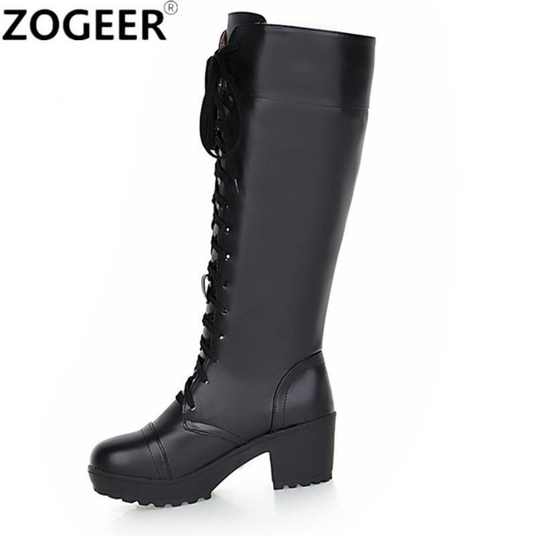 Plus Size 59 Women Snow Boots Fashion Knee High Boots For Women Casual Platform High Heels Lace-up Lady Shoes Winter Footwear
