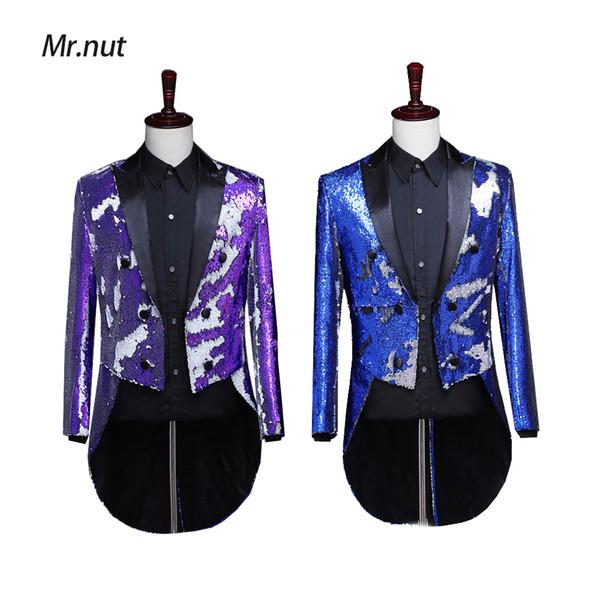 2019 hommes Sequin Slim Fit Smokings De Scène De Scène Robes De Bal Costume De Mariage Marié Costume Veste Blazer Bleu Or Violet Ruban