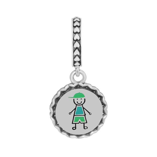 Boy Stick Figure Dangle Charms for Jewelry Making Silver 925 Jewelry Family Boy Silver Charms for Women Bracelets DIY Pendants
