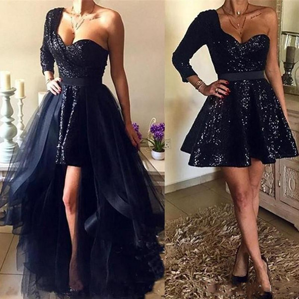 Spakly Black Sequins Prom Dresses With Detachable Overskirt Hi Lo New 2019 Sexy One Shoulder Long Sleeve Arabic African Short Evening Gowns
