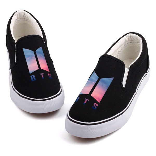 Hot Sale-Fashion K-POP Music Star Printed Canvas Shoes Mens Boys Casual Slip On Korea-Pop Design Students Board Shoes Tenis Flat Loafers