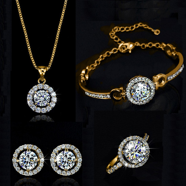 Zircon Crystal Jewelry Hearts and Arrows Zircon Earrings Necklace Bracelet Rings Four Piece Set Round Circle Jewelry Set - Holy Light Suit