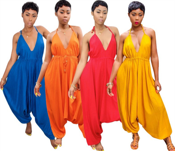 wholesale women designer jumpsuit sleeveless jumpsuit sexy romper elegant fashion loose jumpsuit pullover comfortable clubwear klw0576