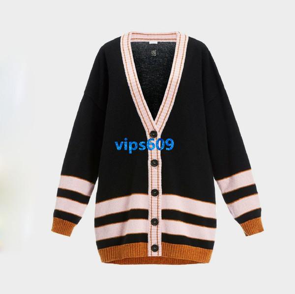 High end kadın kızlar Örgü hırka v yaka şerit baskı Gömlek Moda Rahat Lüks Ceket Kadın Kadın Kazak Uzun Kollu Hırka