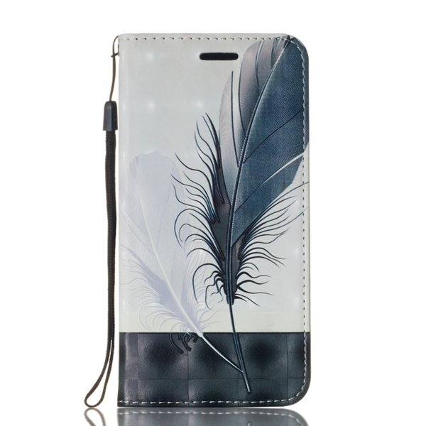 Suitable for iphone xs max 3D painted anti-drop can support PU leather case wallet phone case dandelion feather flip