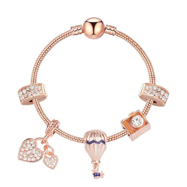 top popular 2020 new pandora style charm bracelet women fashion beads bracelet bangle plated rose gold diy pendants bracelets jewelry girls wedding 2021