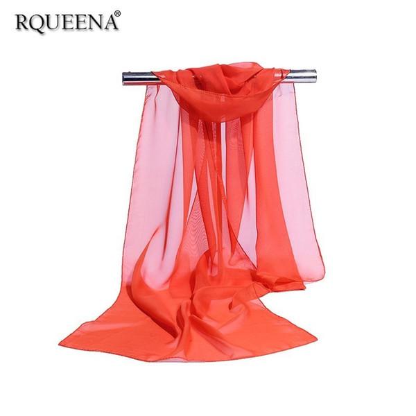 Rqueena 2019 Sciarpe estive coreane da donna Scialle donna lunga Sciarpa di chiffon Blu / Rosso / Rosa / Bianco / Nero / Viola Donna Hijab SV009