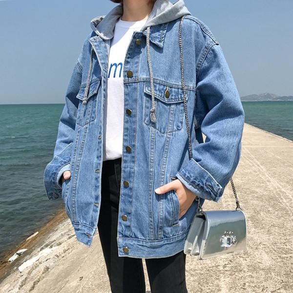 kohtuullinen hinta Kuponkikoodi voittamaton x Hooded Denim Jacket Women Spring Autumn Coat Oversized Korean Plus Size  Jean Jacket Casual Outerwear Coats And Jackets KJ2270 Cbj Hockey Hooded ...