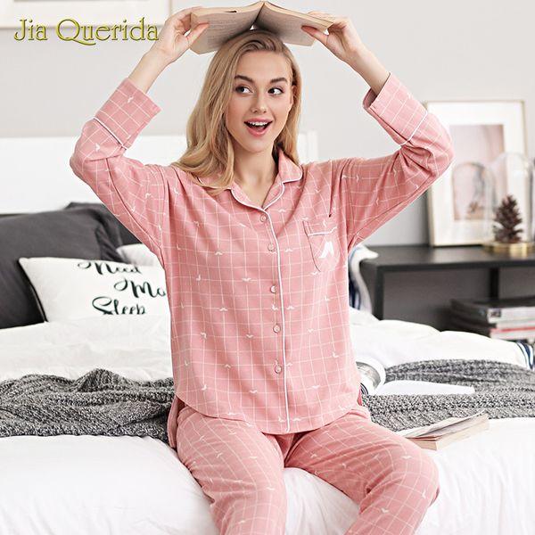 Pajamas Women's Cotton Jacquard Sweet Simple Home Clothing Fall Loose Leisure Suits Ladies Winter Plus Size Night Suit Sleepwear