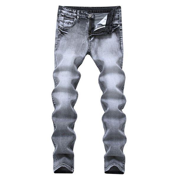 New Vintage Washed Denim Jeans Light Grey Men Jeans Stretch Homme Pantalones Straight Slim Jean pantalones masculinos
