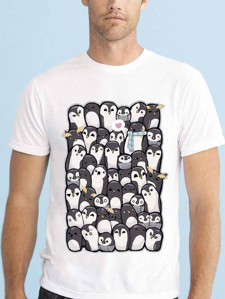 HERREN WEISSES T-SHIRT MIT VIELEN HUDDLED NIEDLICHEN CARTOON PINGUIN-DESIGN Lustiges freies Verschiffen Unisex-T-Shirt