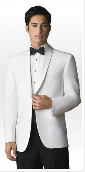 Classic Designe White Men Wedding Dress Shawl Lapel Groom Tuxedso Excellent Jacket Blazer Men Business Dinner/Prom Suit(Jacket+Pants+Tie)537